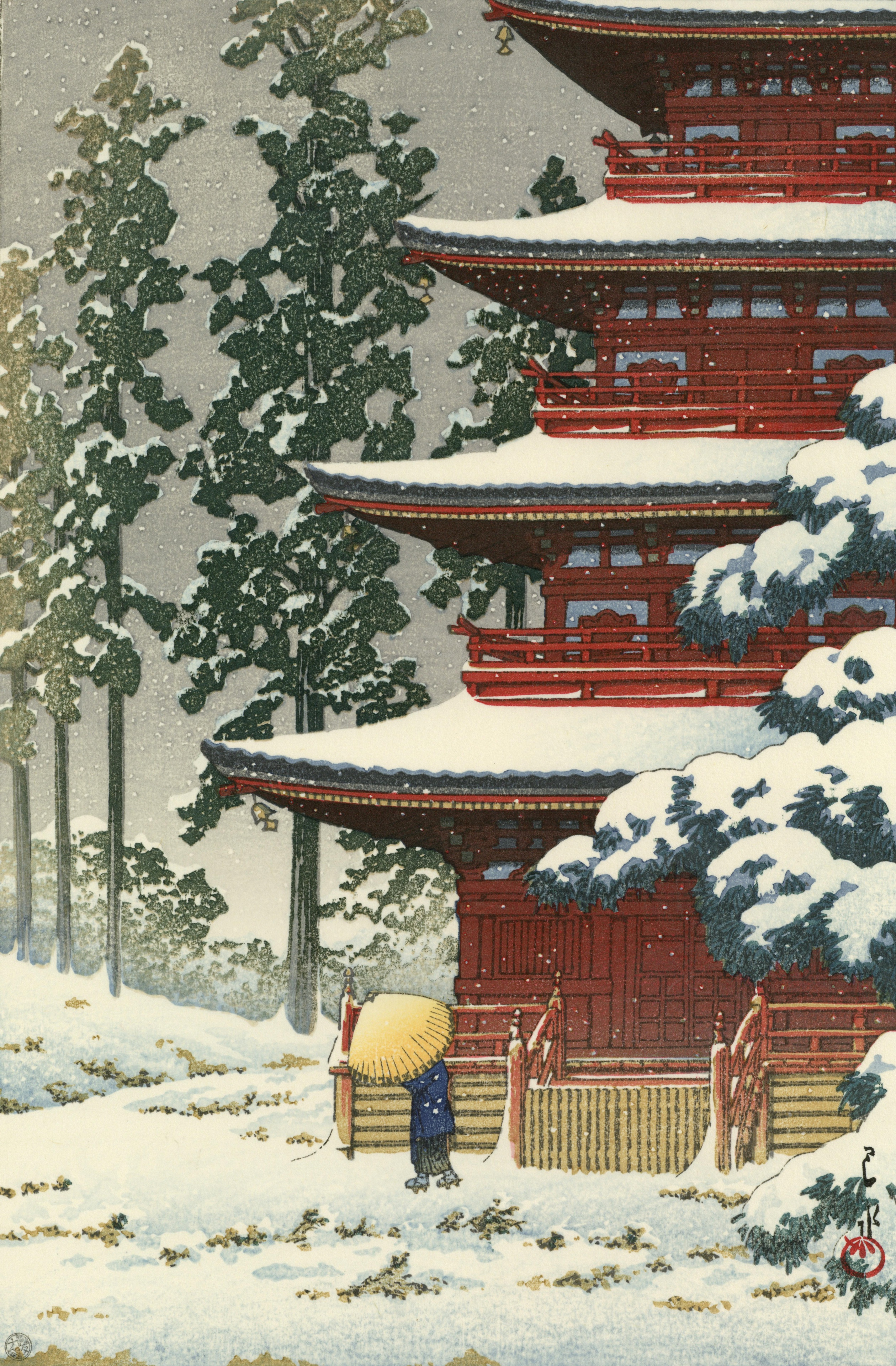 Original woodblock print – Hasui Kawase – Saishoin Temple in Snow, Hirosaki  – Heisei period (1989-present) | JAPANCIENT